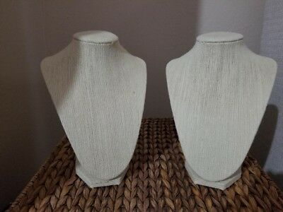 NEW Beige Burlap Necklace Display Bust 8.5 inch - Set of 2