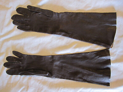 women's vintage brown leather gloves, 3/4 length, size 7, Italy, preowned