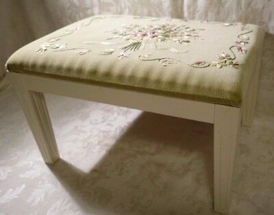 Hand Crafted Wooden Foot Stool Embroidered On Green Brocade Vintage Floral