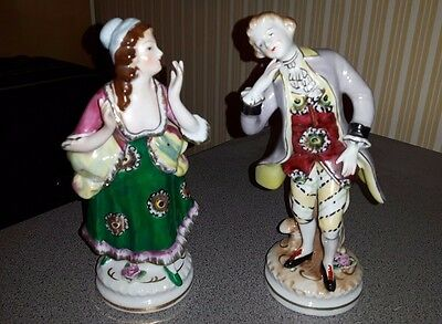 Beautiful MADE IN OCCUPIED JAPAN PORCELAIN FIGURINES, HAND PAINTED Colonial