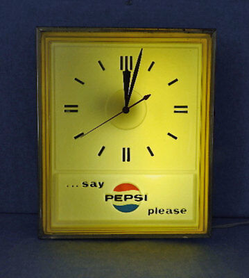 """Pepsi Clock Lighted 1960's """"say Pepsi Please"""" Vg Cond No Fading"""
