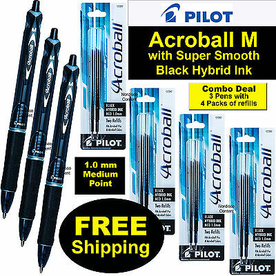 Pilot Acroball M 31810, Black Hybrid Ink, 3 Pens With 4 Packs of 77297 Refills