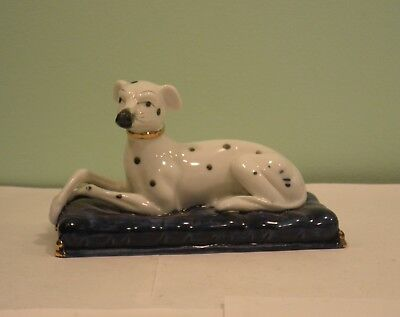 Vintage Porcelain Dalmatian dog figurine laying blue cushion Staffordshire style