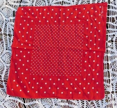 VINTAGE 1950's ELEPHANT TRUNK DOWN RED POLKA DOT ROCKABILLY BANDANA / BANDANNA