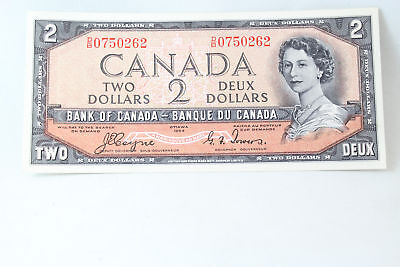 Canada 1954 $2 Two Dollar Bank Note Devils Face Coyne Towers Uncirculated