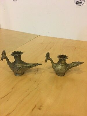 Vintage Set Of Two Small Solid Brass Peacock Candle Holder