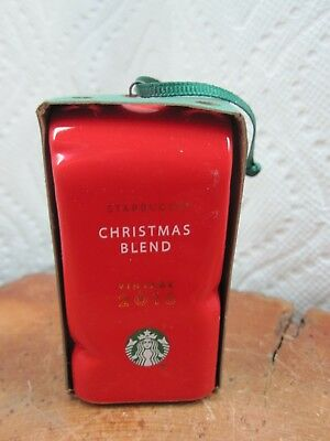 Starbucks Christmas Coffee Blend Bag Red 2016 Ceramic Ornament