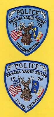 Pascua Yaqui Tribal Police Dept Patch Set ~ Very Rare And Very Hard-To-Find