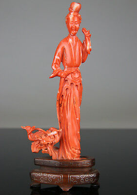 Antique Chinese Red Coral Figure Statue Carved Kwanyin With Stand - 19Th Qing