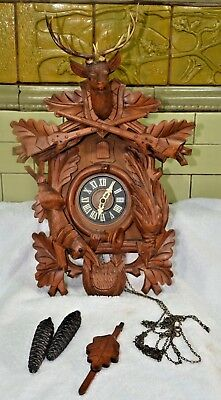 "Vintage Large German Cuckoo clock black forest hunter style  18""X12"""