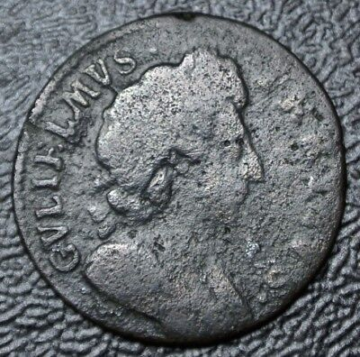 1697 GREAT BRITIAN - FARTHING - COPPER - William III  - Used in Early USA