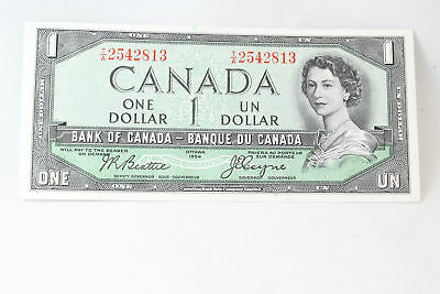 Canada 1954 $1 One Dollar Bank Note Devils Face Beattie Coyne Bc-24b T/A Prefix