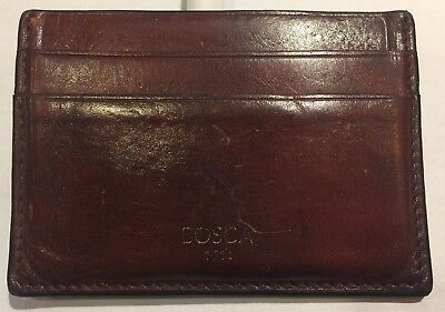 Old Leather Front Pocket Wallet with Leather Money Clip Color: Dark Brown