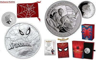2017 SPIDER-MAN Marvel Series Silver Coin & Silver SPIDER-MAN Homecoming Coin