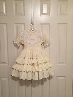VTG - Yellow Fancy Frilly Ruffled Party Dress - size 5