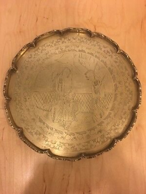 Vintage 1940's Solid Heavy Etched Design Brass Chinese Round Tray Platter 11.5''