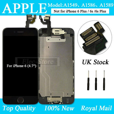 For iPhone 6 Black Screen Replacement Digitizer LCD Touch Camera Home Button UK