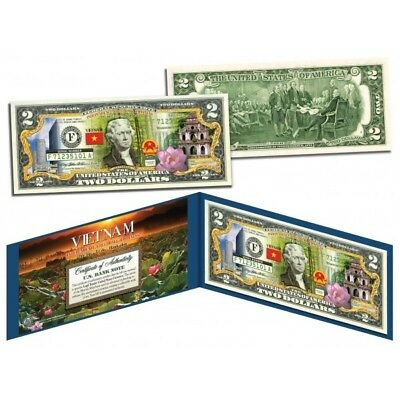 VIETNAM * Independence Freedom & Happiness * Colorized $2 Bill U.S. Legal Tender