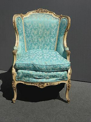 Antique French Provincial Rococo Louis XVI Wingback CHAIR w Down Cushion AS-IS