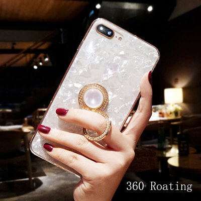Luxury DIY Bling Diamond Crystal Ring Holder Stand Mirror Soft Case Phone Cover