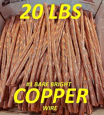 #1 Copper Wire 20 Lbs Bare Bright Jewelry Crafts Scrap Free Shipping To Usa