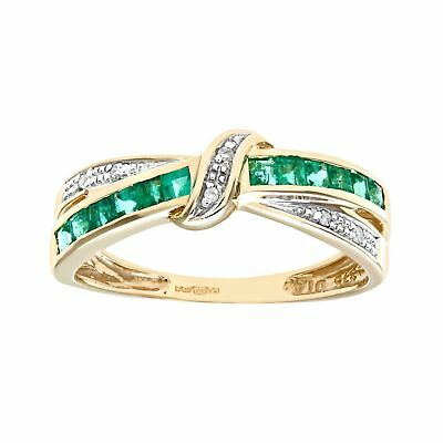 Naava 9 ct Yellow Gold 0.10 ct Diamond and Emerald Double Row Bangle