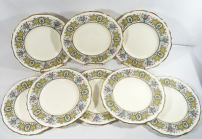 "8 Royal Cauldon China Hand Painted Gilded 9"" Cabinet Luncheon Plates pat. V4381"