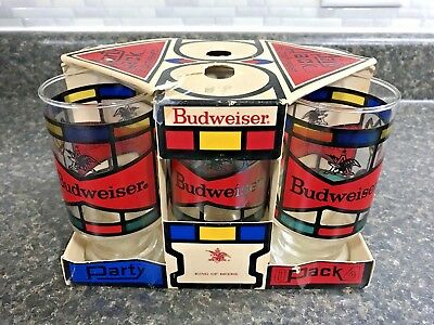 Vintage BUDWEISER PARTY PACK Circa 1970s Anchor Hocking 6 Glasses in Carrier