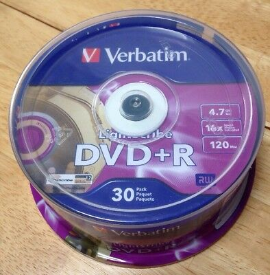 Verbatim Lightscribe DVD+R Recordable 30 Pack - #96240 - 4.7GB 16x Speed 120 Min