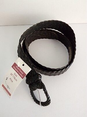 "Badgery Kangaroo Leather Plait Belt ""Pioneer"" Black Size 30""/76cms New with Tags"