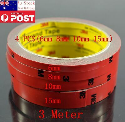 AU Genuine 4 PCS ( 6MM 8MM 10MM 15MM) X 3M Double Sided Car Automotive 3M Tape