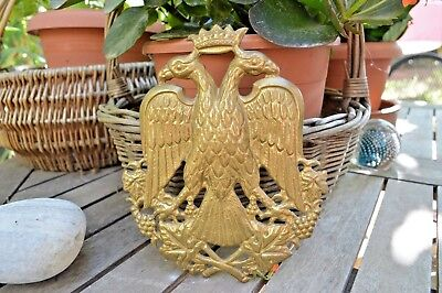 Vintage Byzantine Empire Orthodox Christian Bronze Wall Emblem Two Headed Eagle
