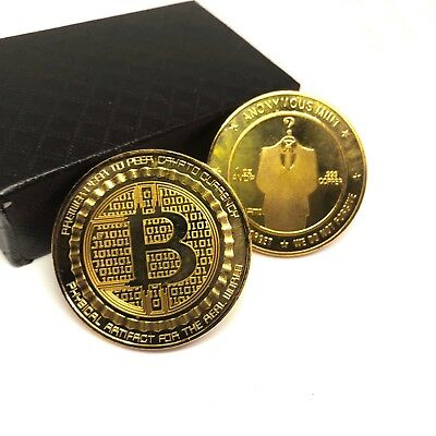 2018 Physical Commemorative Bitcoin 14K Gold Plated Copper Collection with Case