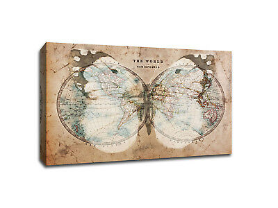 Watercolor Magenta Butterfly World Map Canvas Art 37 00 Picclick