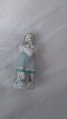 Antique 19th century German porcelain figurine, lady musician 3.1/2 inches high