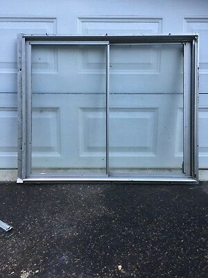 Aluminium Sliding Window Silver Anodised Frosted Glass 1020 x 840 with Flyscreen