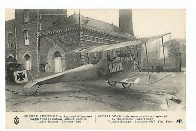 Postcard Aviation , Aerial War , German Machine Captured By Aviator Gilbert 1914