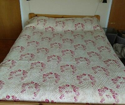 "Vintage Traditional Durham Quilt Double Bed Cover - Pink Floral Cotton 88"" x 79"""