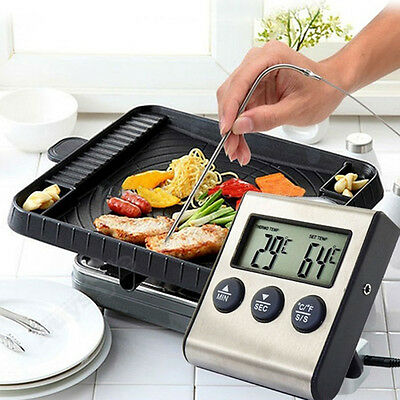 LCD Thermometer BBQ Grill Alarm Edelstahl Bratenthermometer Grillthermometer NEU