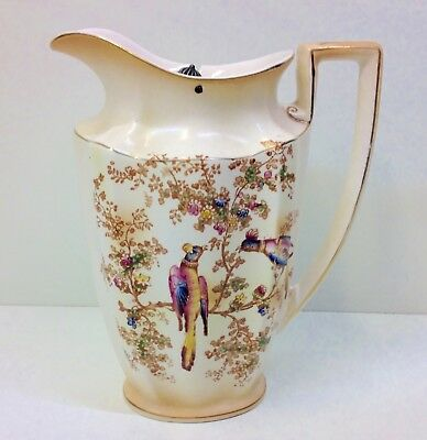 "Crown Ducal Blush ware ""Exotic Birds"" Pattern Lidded Hot Water Jug."