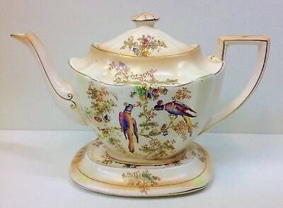 "Crown Ducal Blush ware ""Exotic Birds"" Pattern Tea Pot & Stand."