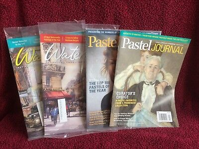 2 Pastel Journal magazines and 2 Watercolor magazines