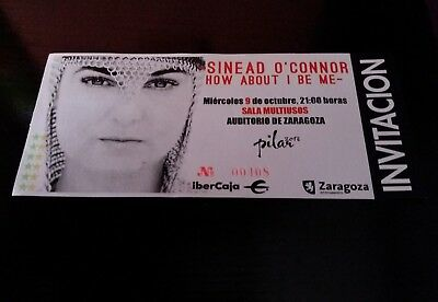 Sinead o'connor unused  concert ticket zaragoza spain october 9th, 2013 new