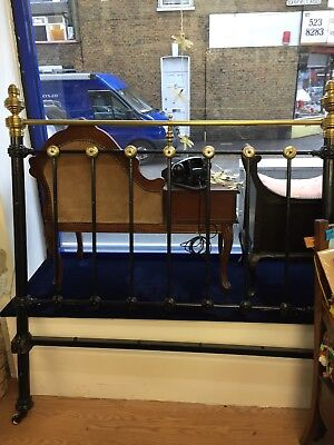Antique Black And Gold Brass Double Bed With Pearl Detail