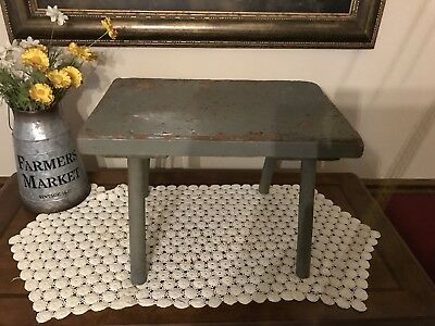 Rustic Wood Milking Stool-Plant Stand-Step Stool-Distressed Blue Green Grey
