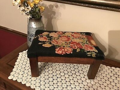 """Antique Mission Foot Stool Embroided Top - 15"""" x 10"""" x 8"""""""