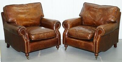 Pair £4600 Of Timothy Oulton Balmoral Heritage Brown Leather Club Armchairs