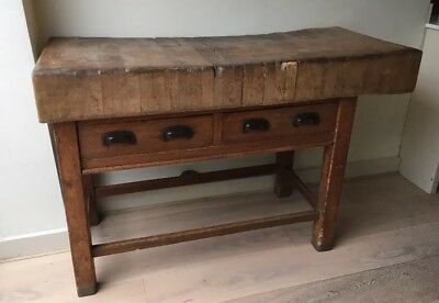 Antique Large Butchers Block Rare Size And Quality