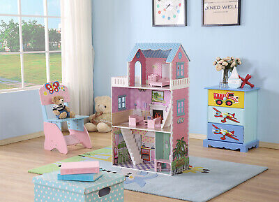 Large Wooden 3 Level 4 Rooms Dollhouse with Furniture Pretend Play