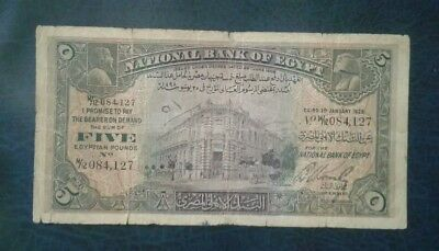 EGYPT , 5 Pounds 1925 very Rare Banknote Hard to Find signature and date.